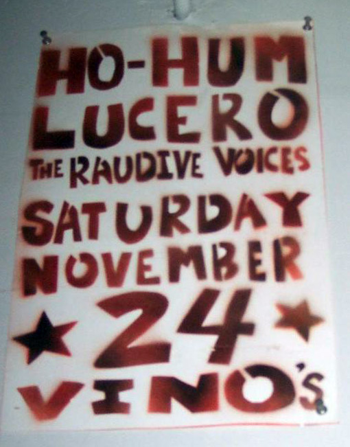 Flyer: The Raudive Voices, Ho-Hum, Lucero at Vino's - Towncraft Image